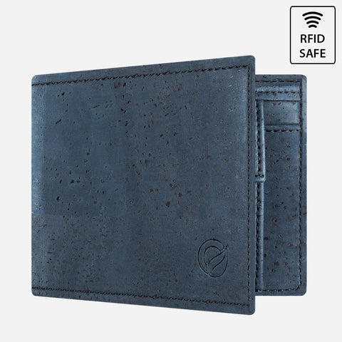 CORK WALLET WITH COIN POCKET-BLUE