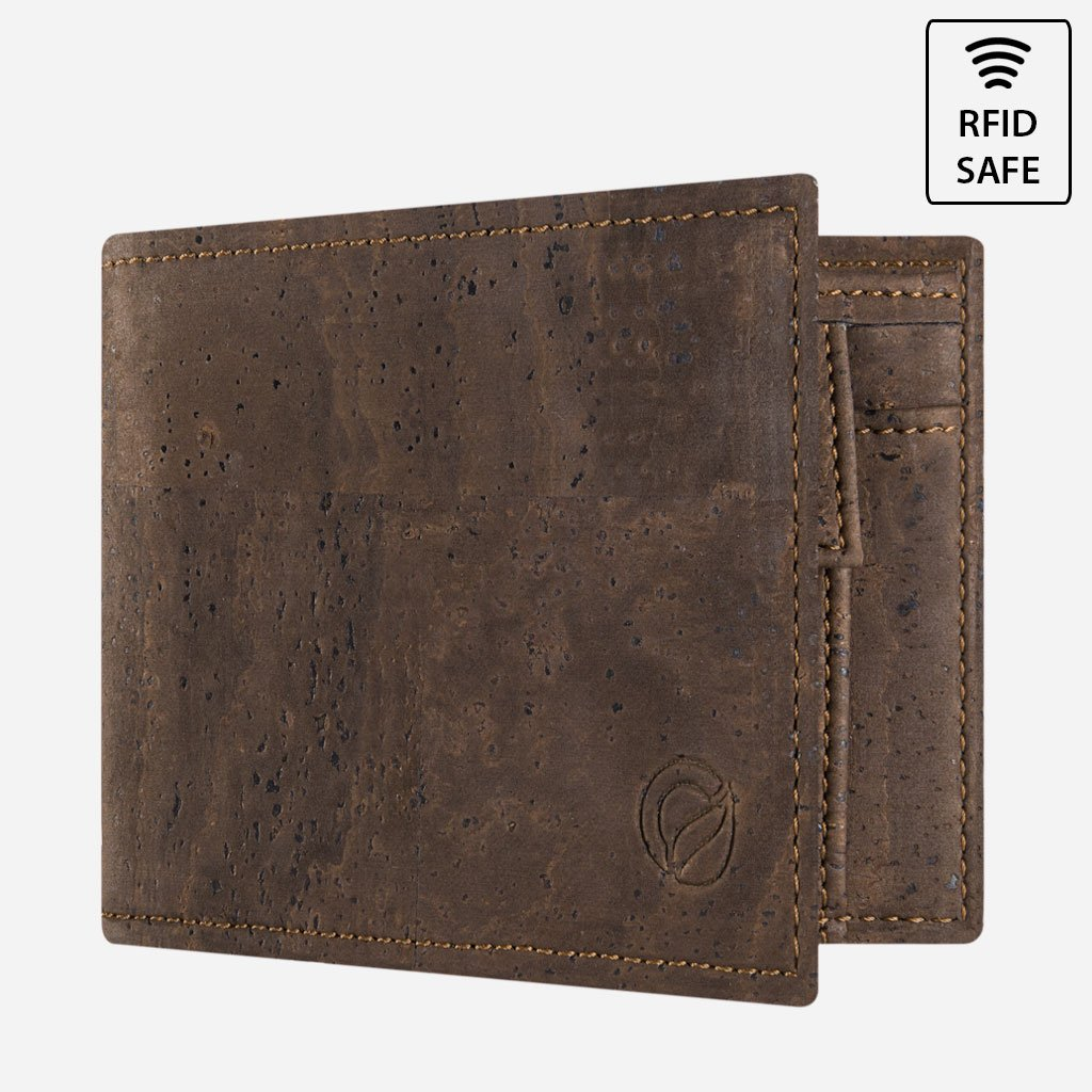 CORK WALLET WITH COIN POCKET-BROWN