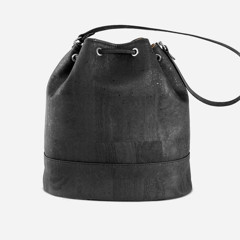 CORK BUCKET BAG-BLACK