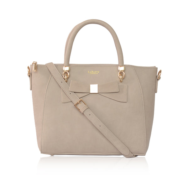 Avenue Grey bow tote bag