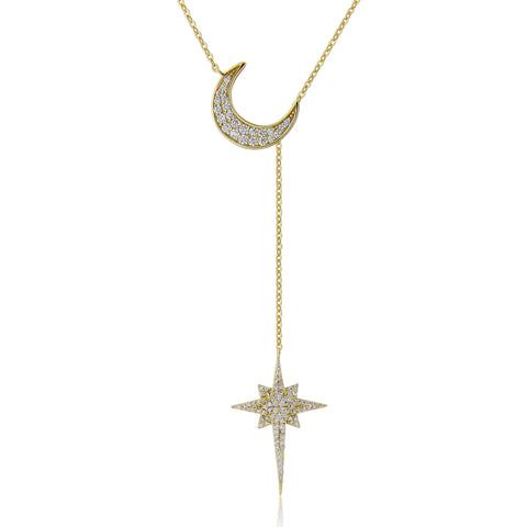 Gold Star and moon sterling silver necklace