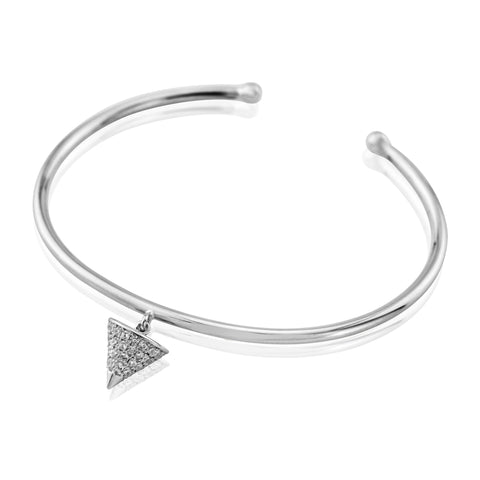 Silver sterling pyramid charm bangle