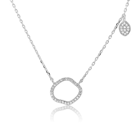 Sterling silver organic shape necklace