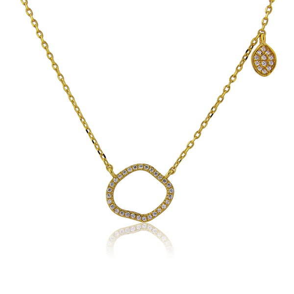Gold Sterling silver organic shape necklace