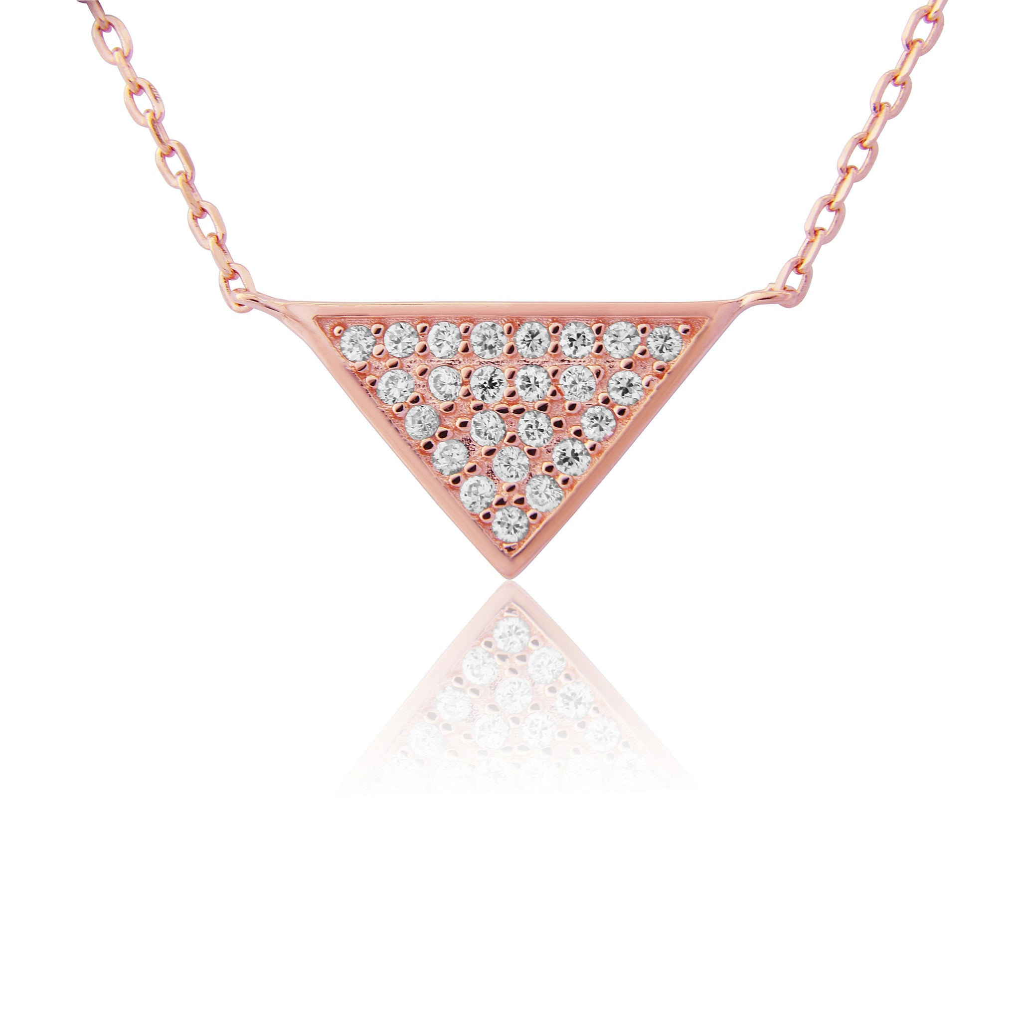 Rose Gold Sterling silver triangle necklace
