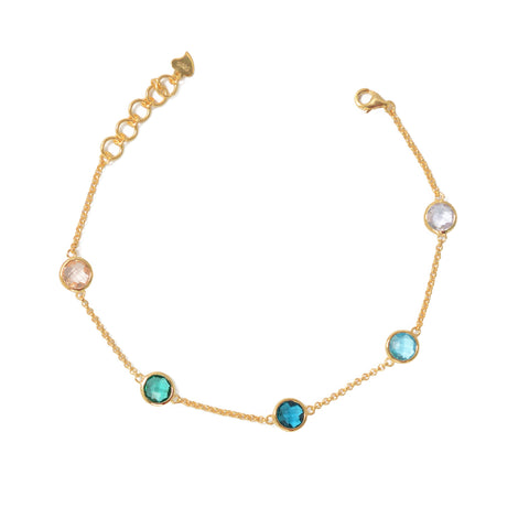 Gold Sterling silver multi colour bracelet