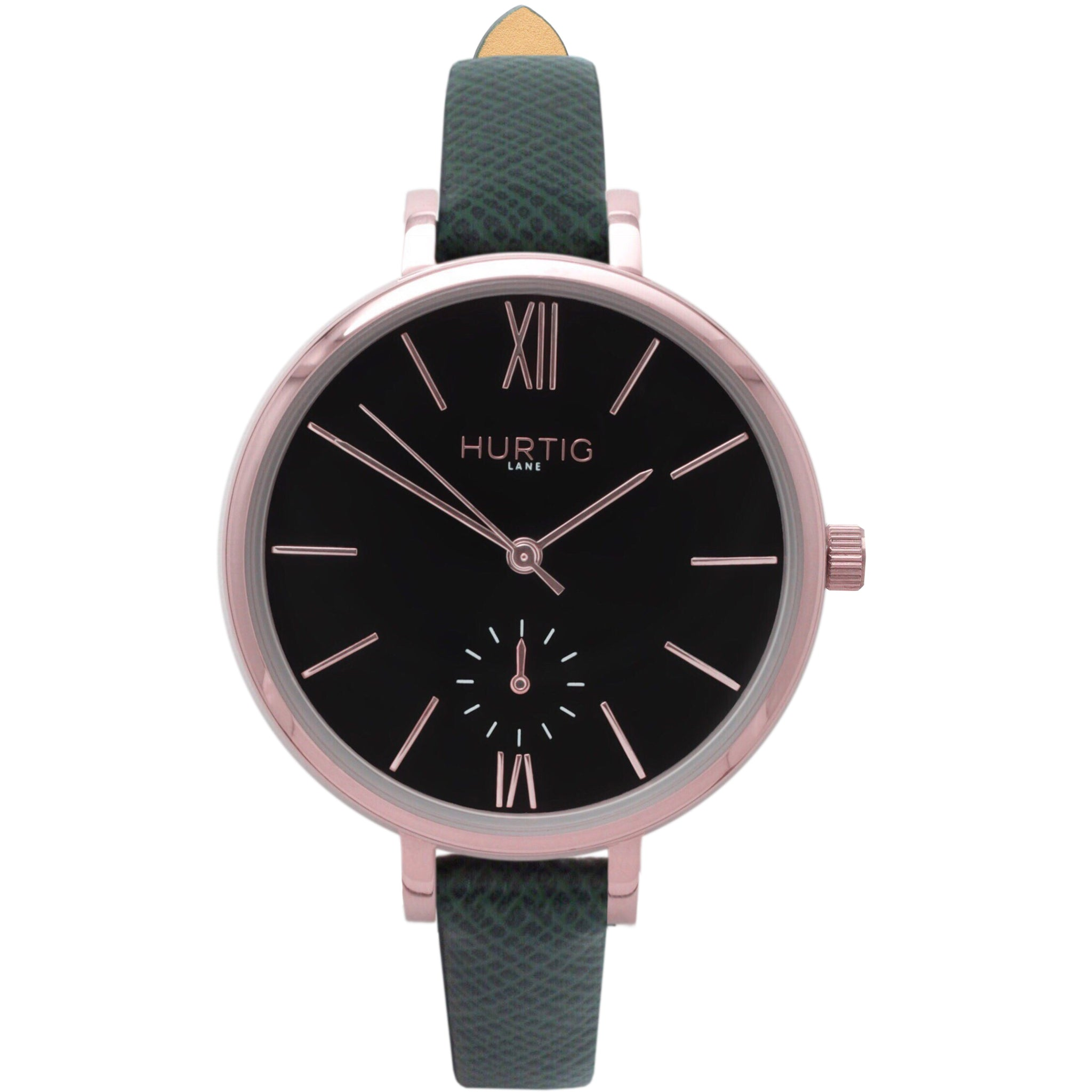 AMALFI WOMEN'S WATCH, ROSE GOLD/BLACK/GREEN