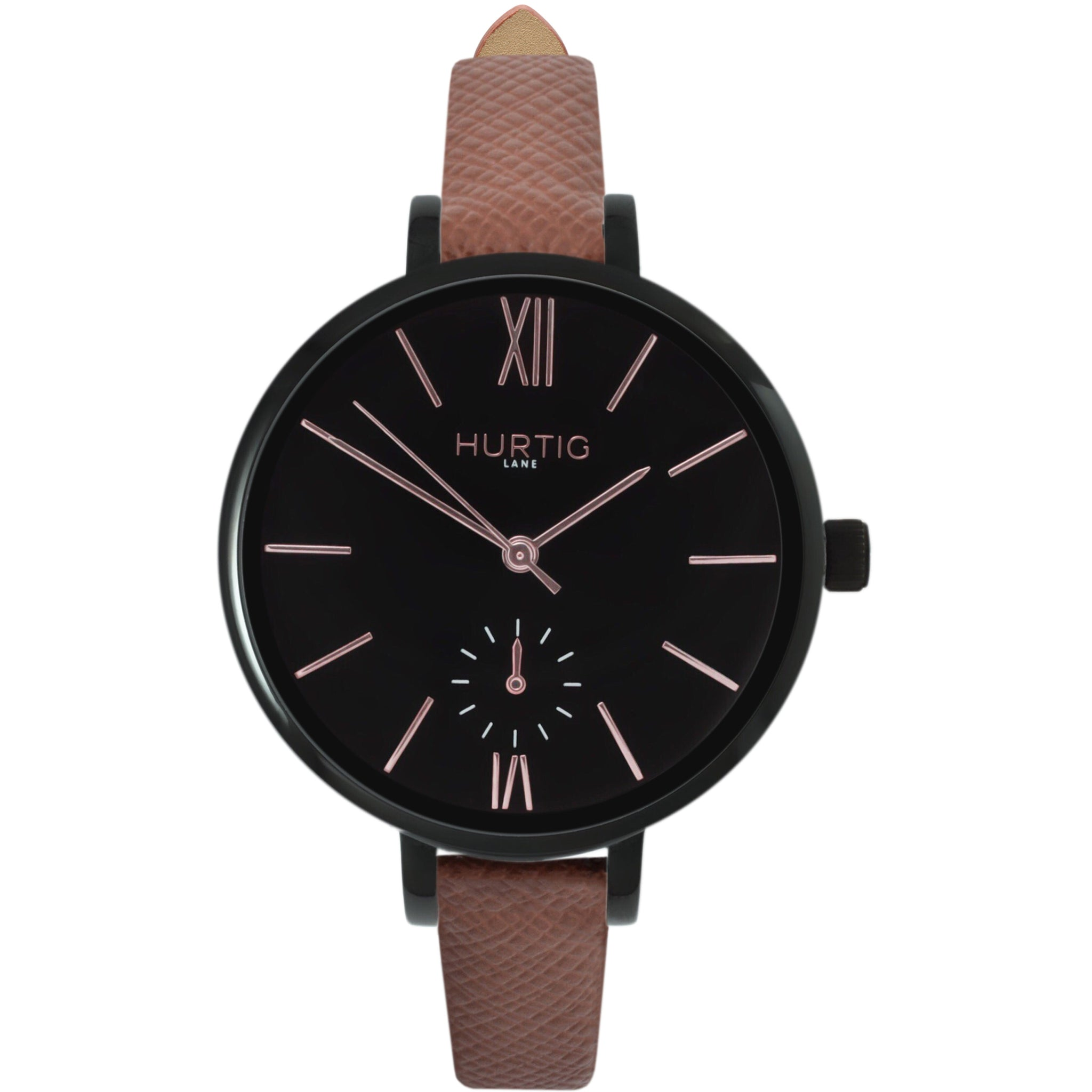 AMALFI WOMEN'S WATCH, BLACK/BLACK/TAN