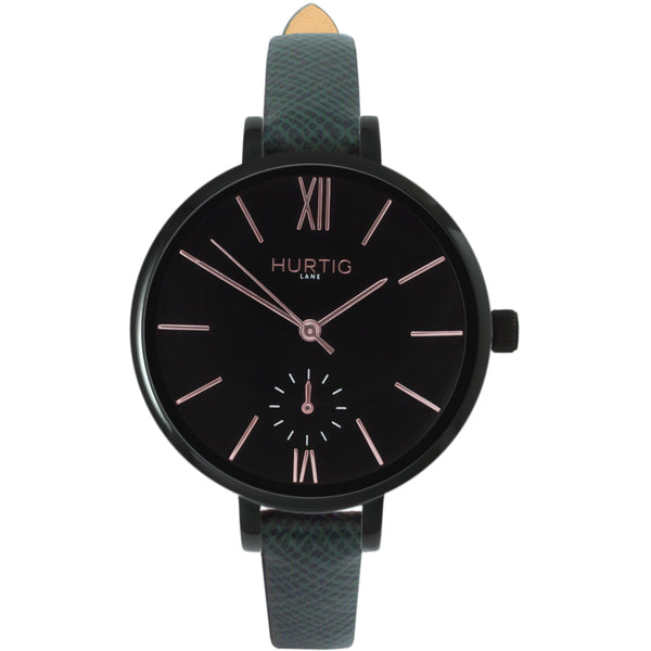 AMALFI WOMEN'S WATCH, BLACK/BLACK/GREEN