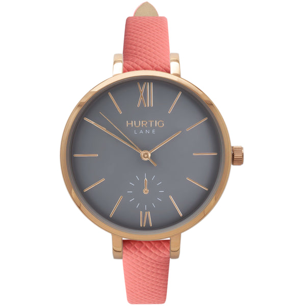 AMALFI WOMEN'S WATCH, GOLD/GREY/CORAL