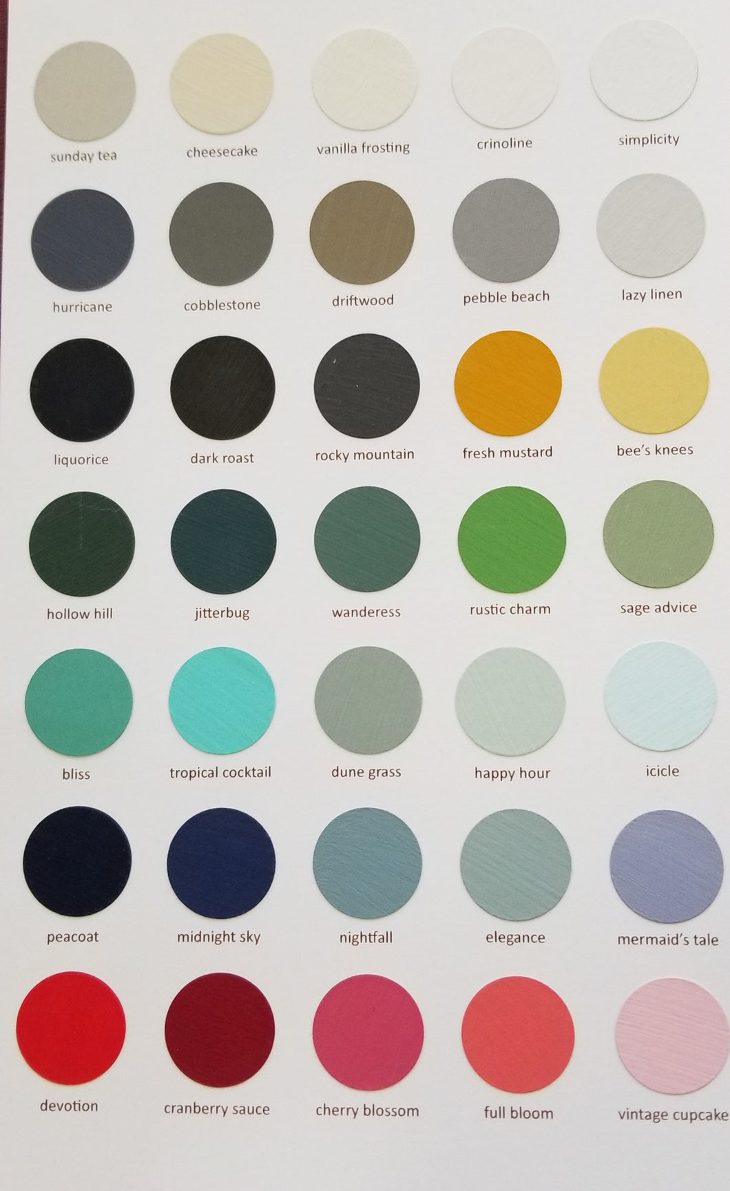 Country Chic Paints Current Colour Chart