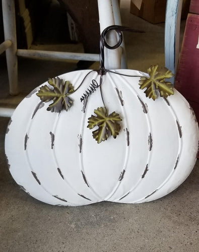 White Tin Wall Pumpkin