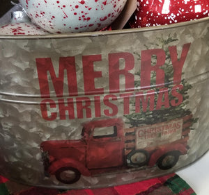 Merry Christmas Bucket with Handle