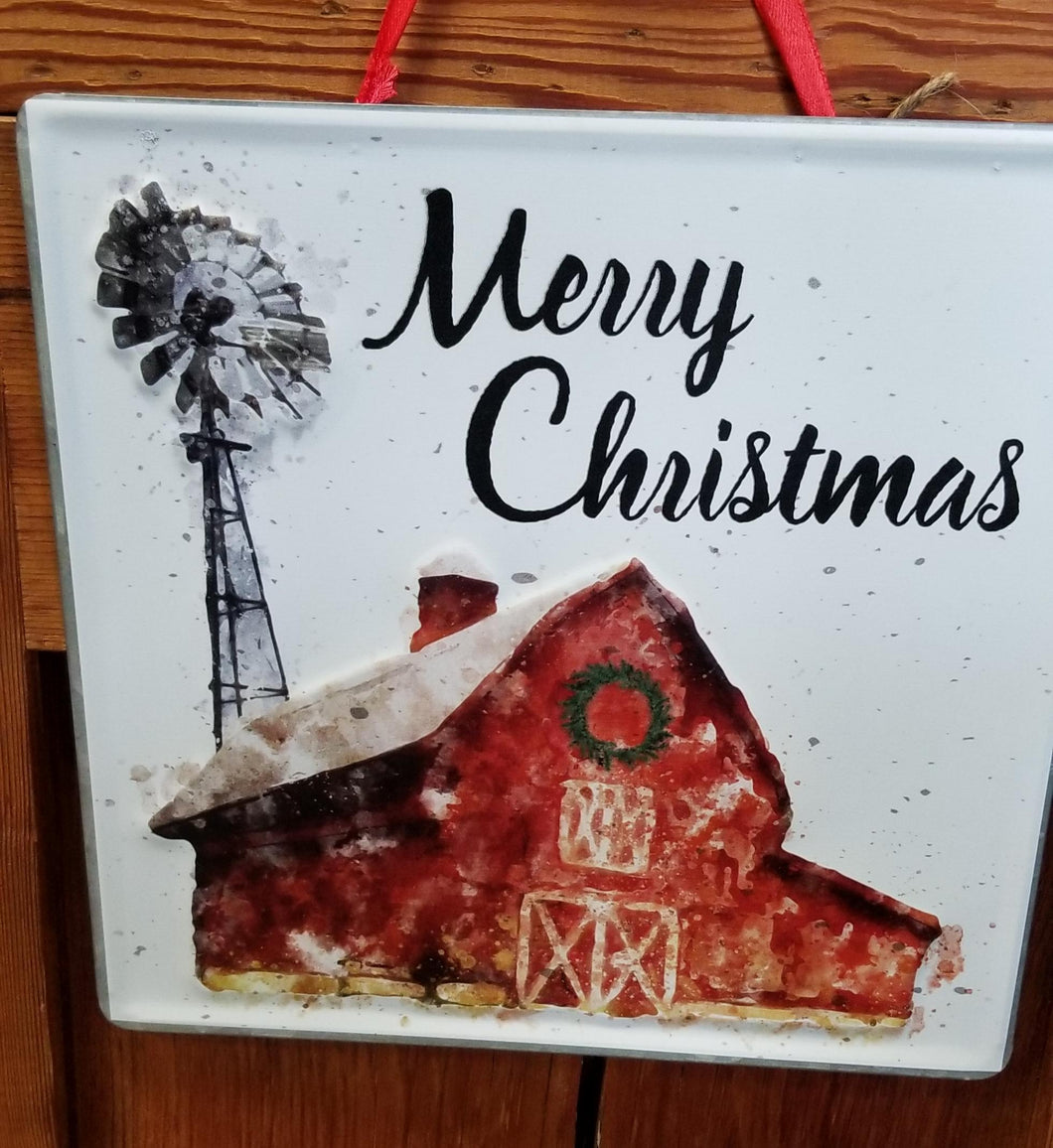 Metal Merry Christmas Barn Plaque