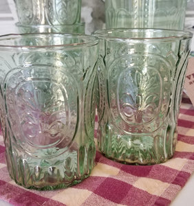 Vintage Green Etched Floral Drinking Glasses
