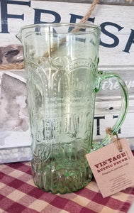 Vintage Green Etched Floral Pitcher