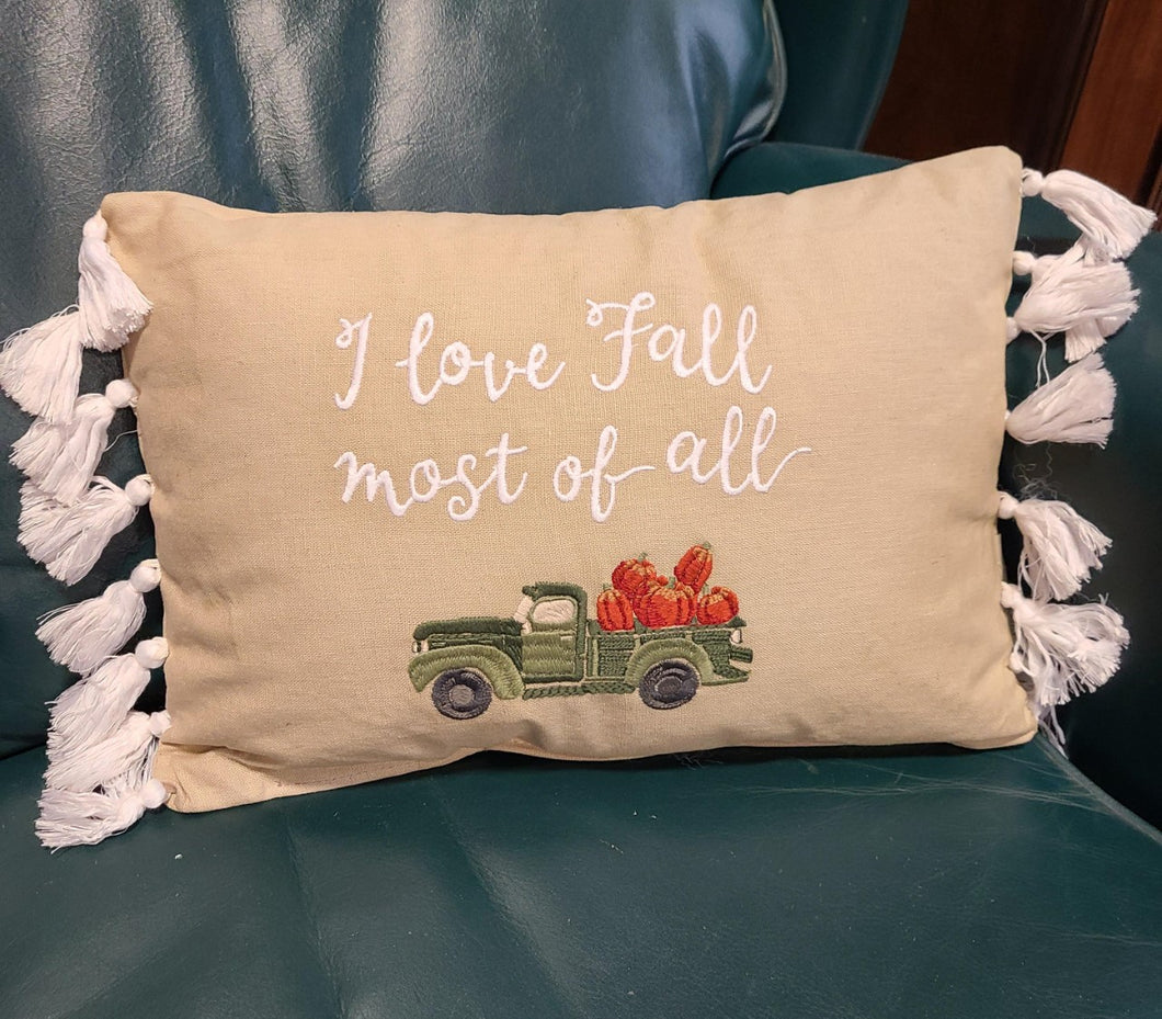 I Love Fall Most of All Pillow