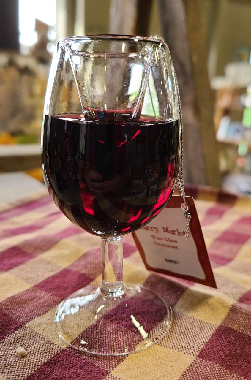 Merry Merlot Glass Wine Ornament