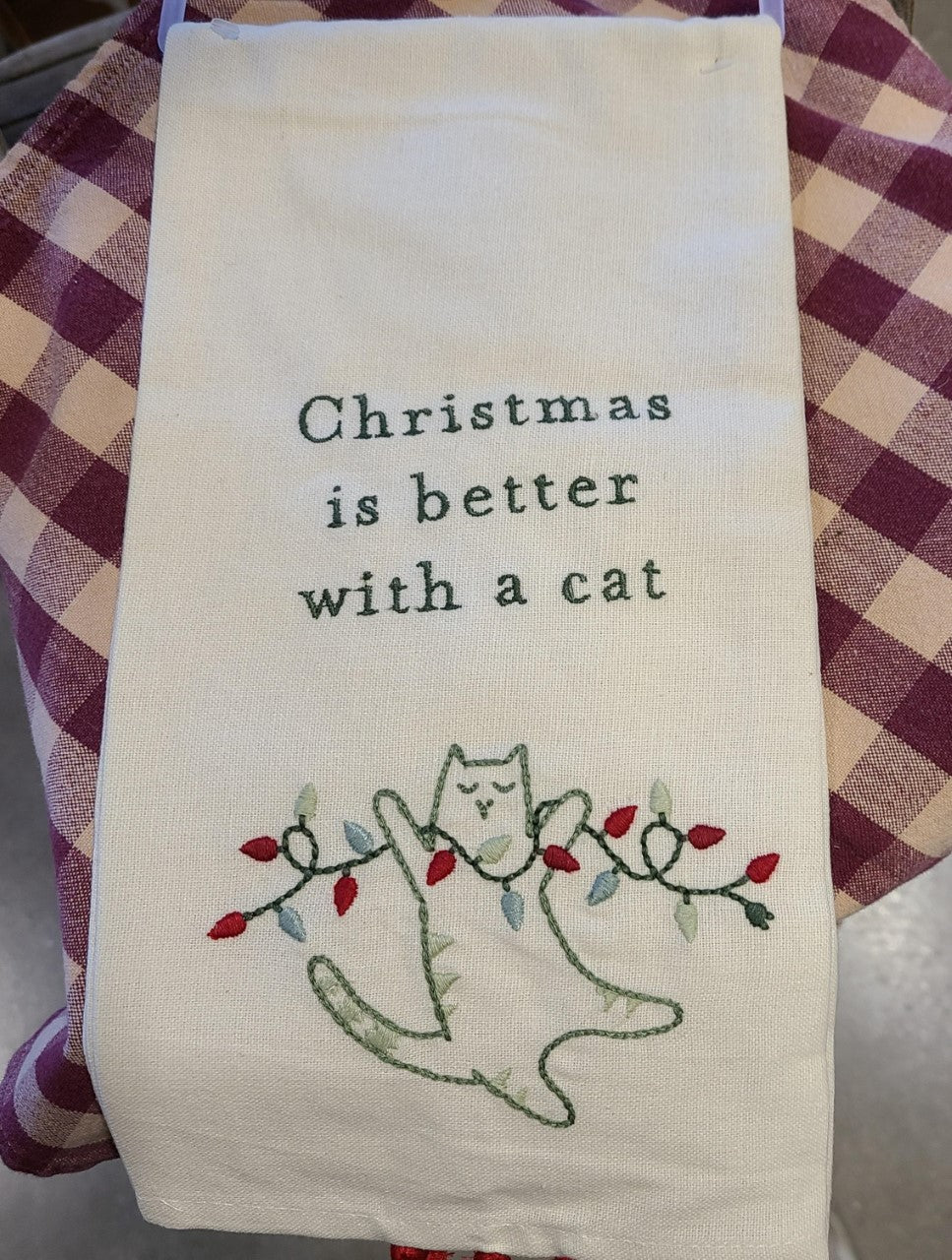 Christmas is Better with a Cat Tea Towel