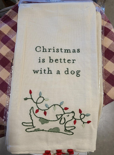 Christmas is Better with a Dog Tea Towel