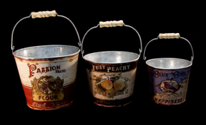 Vintage Buckets with Handles, assorted sizes