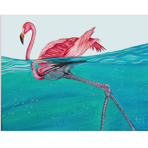 Flamingo in water painting