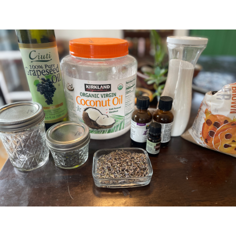 ingredients for sugar scrub grouped together