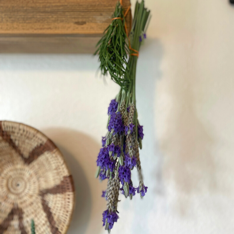 hanging rosemary and lavender herb bunches