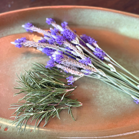 fresh cut lavender and rosemary herbs
