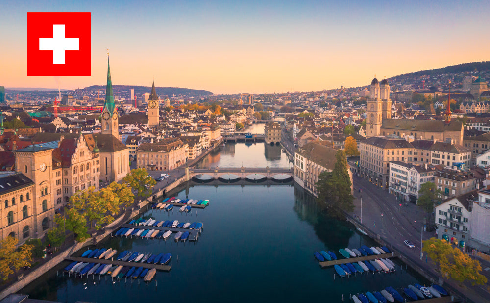 Aerial view of an urban landscape in Zurich Switzerland