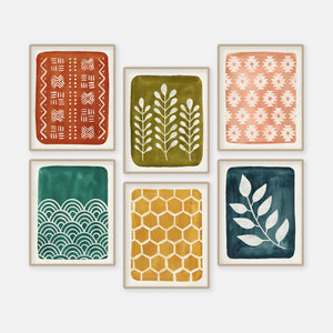 New Print Series: Painted Geo Patterns + Nature Motifs