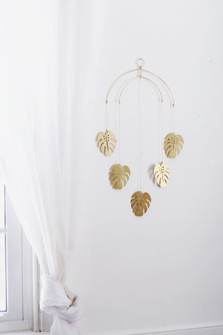 Large Monstera Leaf Brass Mobile