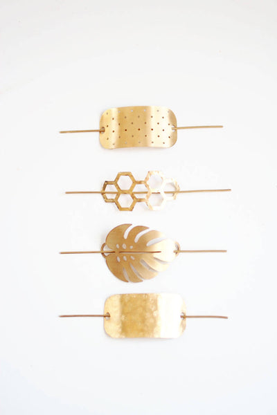 Honeycomb Hair Pin | Brass Hair Clip | Brass Hair Slide | Hair Barrette | Hair Accessories