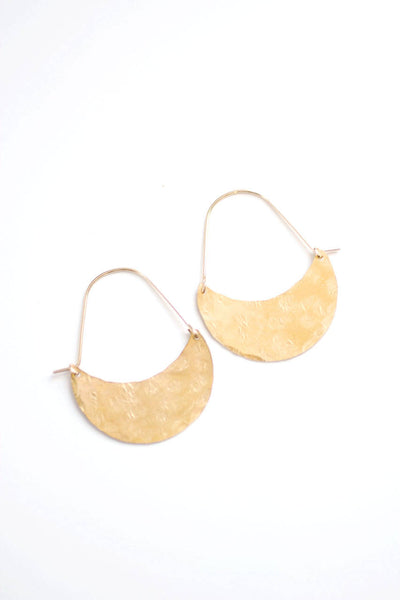 Crescent Hoop Earrings | Crescent Moon Earrings | Crescent Earrings | Moon Earrings | Brass Earrings | Gold Hoops | Sterling Silver Hoops