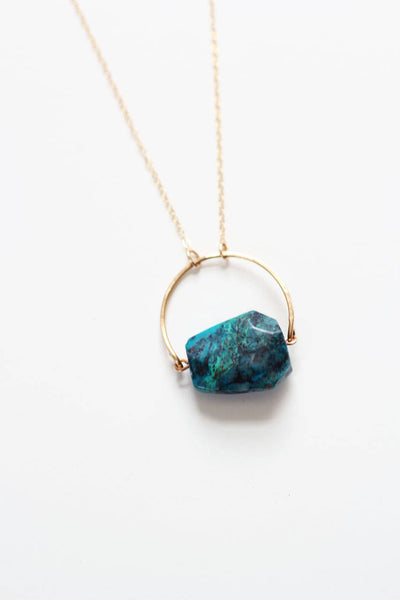 Arch Chrysocolla Turquoise Necklace | Chrysocolla Necklace | Blue Stone Necklace |  Green Stone Necklace | Gold Turquoise Jewelry
