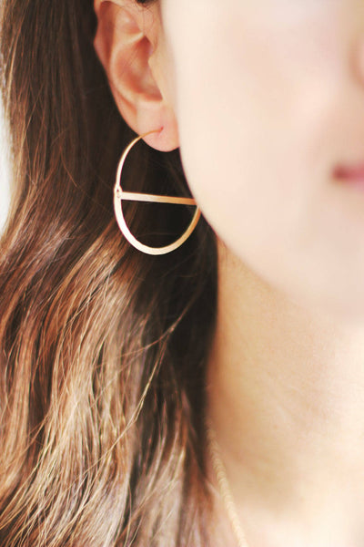 Half Moon Hoop Earrings | Half Circle Earrings | Delicate Earrings | Gold Hoops | Hoop Earrings | Minimal Jewelry | Minimalist Earrings