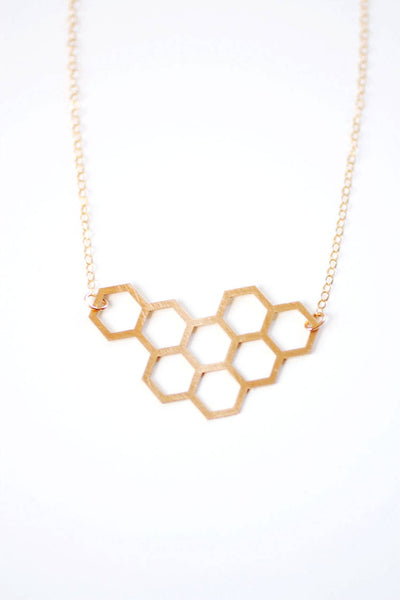 Honeycomb Necklace | Brass | 14k Gold Filled | Sterling Silver | Honey Comb Necklace