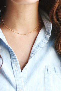 Satellite Beaded Choker Necklace | 14k Gold Fill | Sterling Silver | Layer Necklace | Fine Gold Choker | Layered Choker | Minimal Jewelry