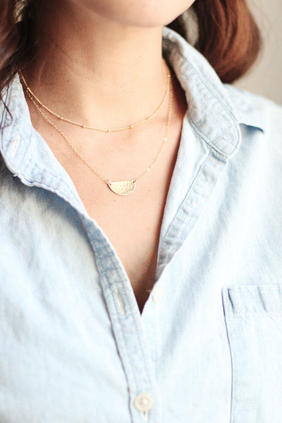 Small Hammered Half Moon Necklace | Gold Fill | Sterling Silver | Minimalist Necklace | Dainty Necklace | Hammered Necklace | Half Circle