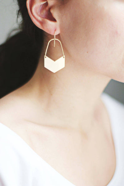 Chevron Arch Earrings | Gold Geometric Earrings | Brass Earrings | Silver Geometric Earrings | Brass Geometric | Bras Chevron | Gold Chevron