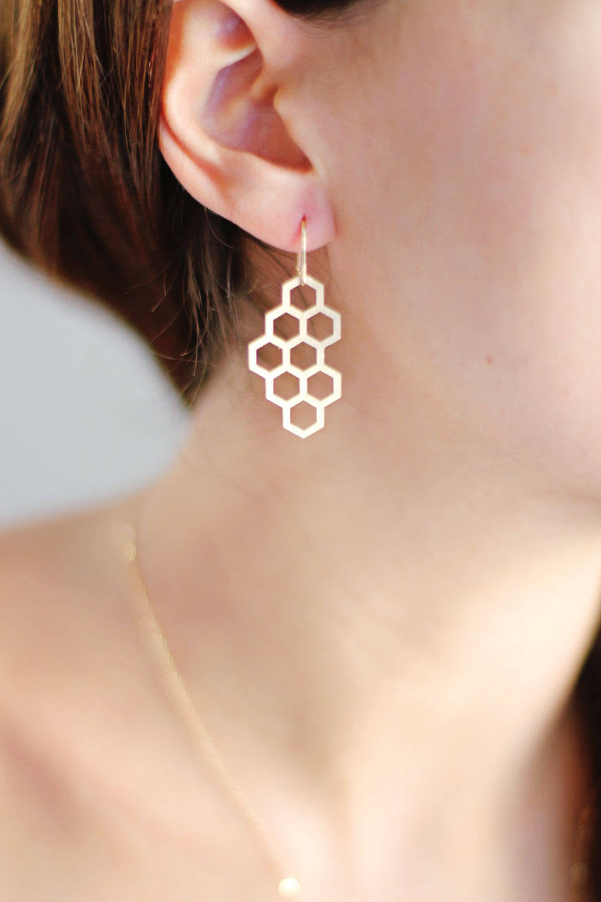 Honeycomb Earrings | Brass Earrings | 14k Gold Filled Earrings | Sterling Silver Earrings | Honey CombEarrings | Minimal Jewelry