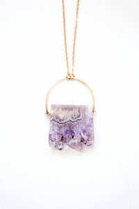 Stalactite Slice Amethyst Necklace