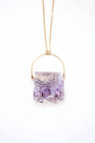 Stalactite Slice Amethyst Necklace | Brass | 14k Gold Fill | Raw Crystal Jewelry | Amethyst Jewelry | Raw Stone Jewelry | Raw Stone Necklace