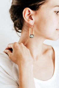 Faceted Nugget Stone Arch Earrings | Brass | 14k Gold Fill | Sterling Silver