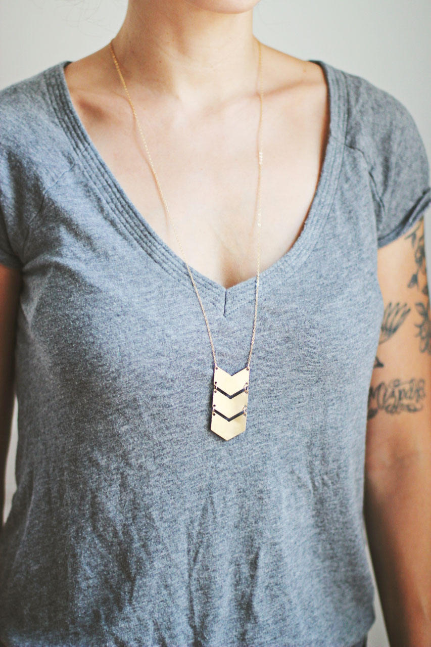Long Triple Chevron Necklace | Triple Arrow Necklace | Gold Chevron Necklace | Silver Chevron | Chevron Pendant | Geometric Necklace