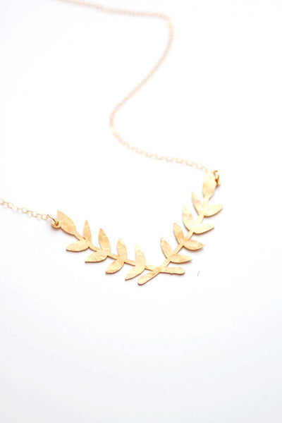 Laurel Wreath Necklace | Gold Laurel Necklace | Gold Branch Necklace | Silver Laurel Wreath Necklace | Bridesmaid Necklace | Silver Branch