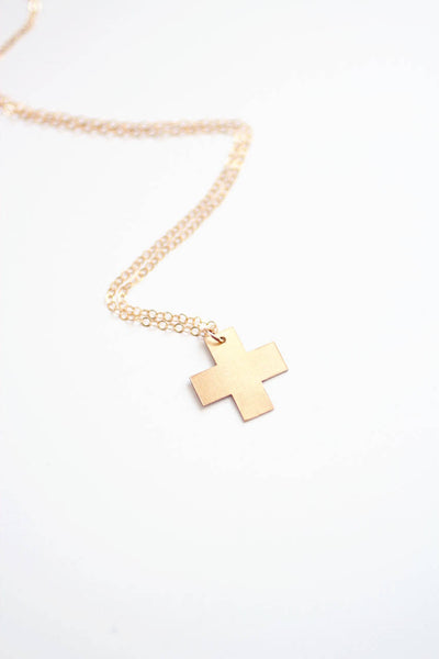 Minimalist Swiss Cross Necklace | Brass Necklace | 14k Gold Filled Necklace | Sterling Silver | Minimalist Necklace | Minimal Jewelry