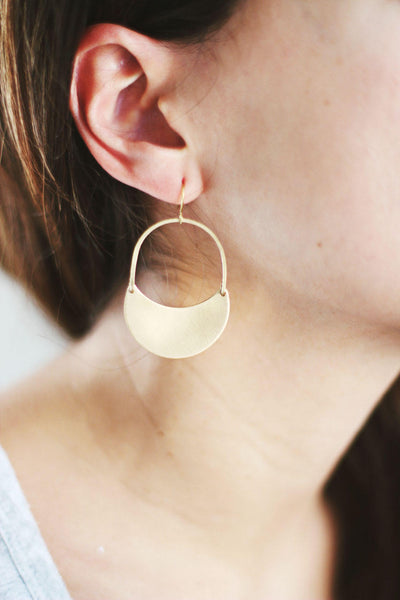 Crescent Dangle Earrings | Crescent Moon Earrings | Brass Earrings | Crescent Hoop Earrings |  Crescent Moon | Gold Fill Crescent Earrings