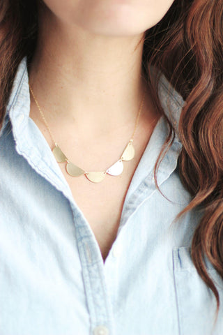 Scalloped Half Moon Necklace | Semicircle Necklace | Half Circle Necklace | Scalloped Necklace | Brass Necklace | Geometric Necklace | Gold