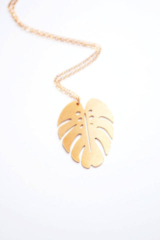 Monstera Leaf Necklace | Monstera Necklace | Brass | 14k Gold Fill | Sterling Silver | Palm Leaf Necklace